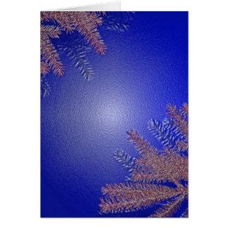 Christmas Poinsettia Blue Greeting Card