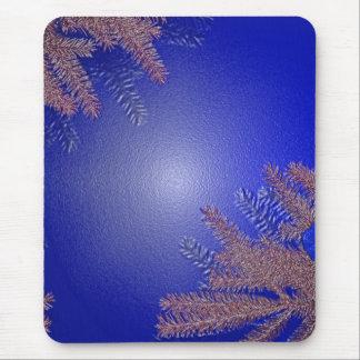 Christmas Poinsettia Blue I Mouse Pad