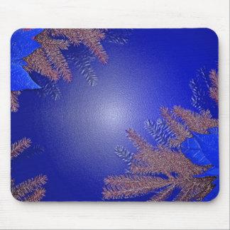 Christmas Poinsettia Blue Mousepad