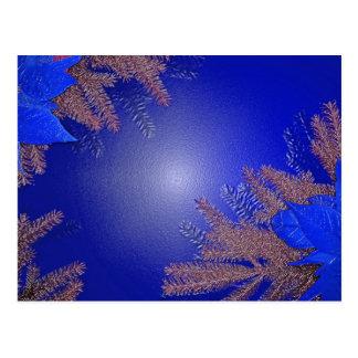 Christmas Poinsettia Blue Postcards