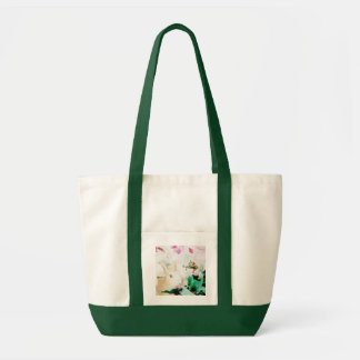 Christmas Poinsettia Bunny Tote Bags