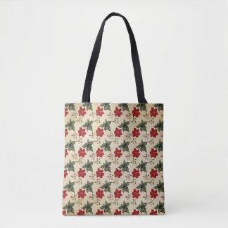 Christmas Poinsettia Design Tote Bag