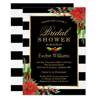 Christmas Poinsettia Floral Striped Bridal Shower Card