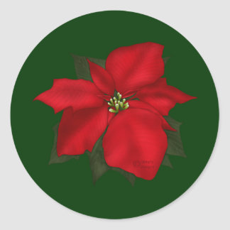 Christmas Poinsettia Flower Classic Round Sticker