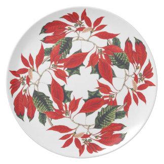 Christmas Poinsettia Flower Holiday Melamine Plate