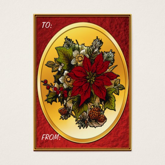 Christmas Poinsettia Gift Tags