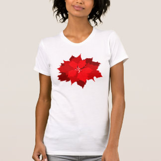 Christmas poinsettia graphic flower t-shirt
