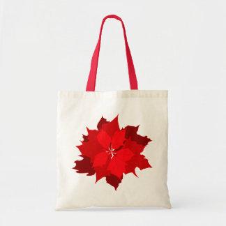 Christmas poinsettia graphic seasonal shopping bag