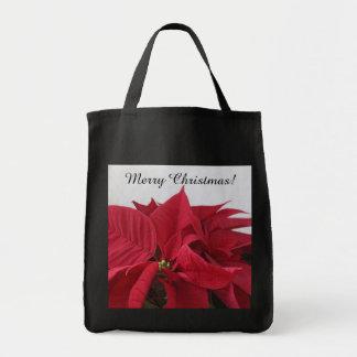 Christmas poinsettia grocery tote bag
