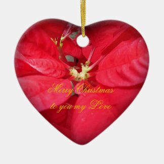 Christmas Poinsettia Heart Ornament