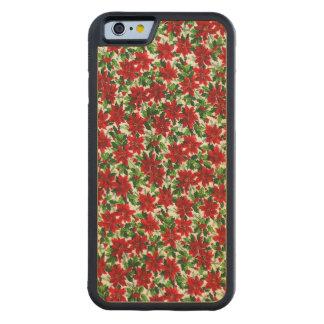Christmas Poinsettia Pattern Maple iPhone 6 Bumper Case
