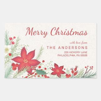 Christmas Poinsettia Pine & Berries Return Address Rectangular Sticker