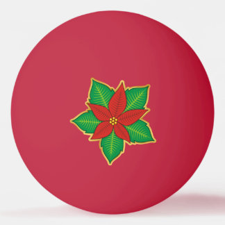 Christmas Poinsettia Ping Pong Ball
