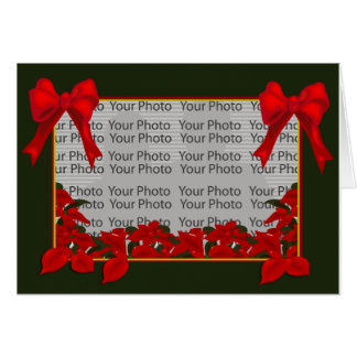 Christmas Poinsettia Plant Photo Frame Card