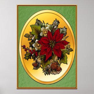 Christmas Poinsettia Poster Print (Green)
