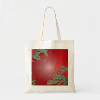 Christmas Poinsettia Red Tote Bags