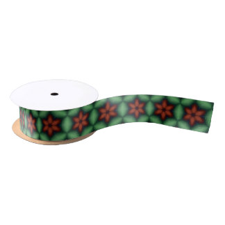Christmas Poinsettia Red Green Ribbon Satin Ribbon