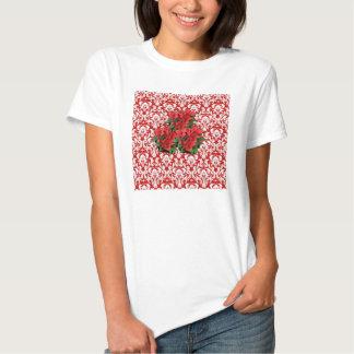 Christmas poinsettia red white damask tshirt
