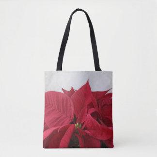 Christmas poinsettia tote bag
