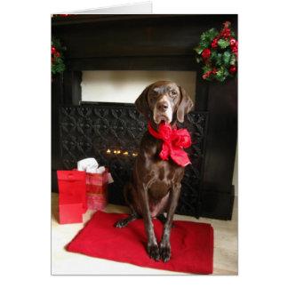 christmas pointer greeting card