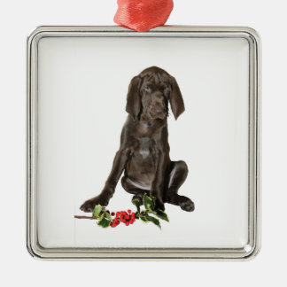 Christmas Pointer Puppy Christmas Ornament