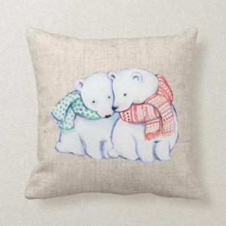 christmas polar bears linen look pillow cushion