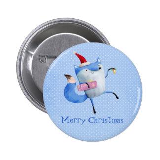 Christmas Polar Fox 6 Cm Round Badge