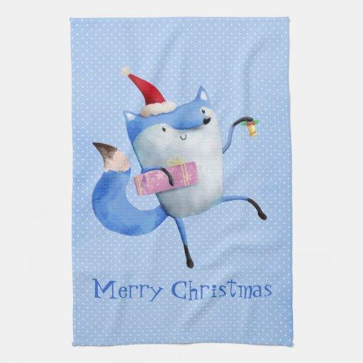 Christmas Polar Fox Hand Towels
