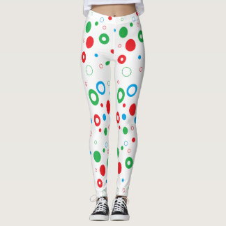Christmas Polka Dots, Red Green Blue Leggings