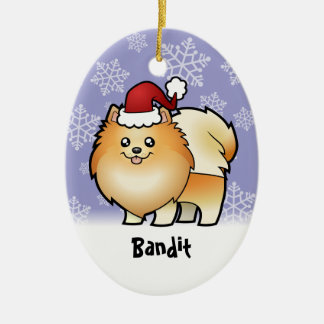 Christmas Pomeranian (add your pets name) Ceramic Oval Decoration