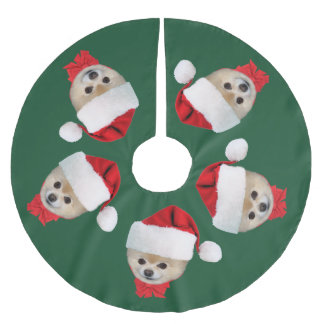 Christmas, Pomeranian Dog, Santa Hat Brushed Polyester Tree Skirt