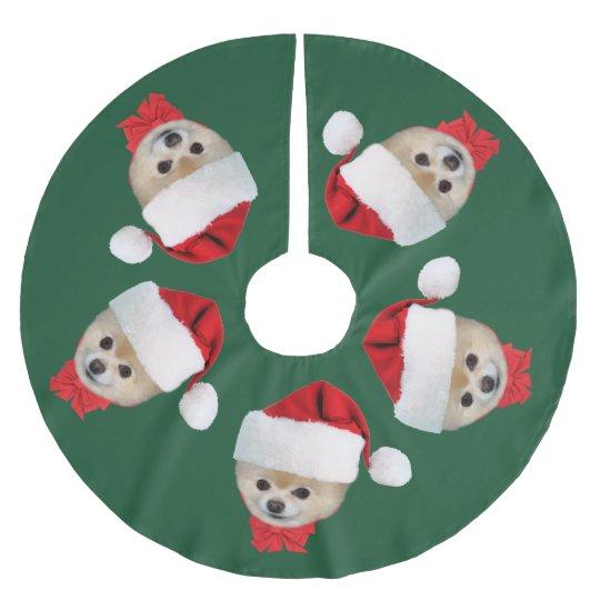 Christmas, Pomeranian Dog, Santa Hat Brushed Polyester Tree