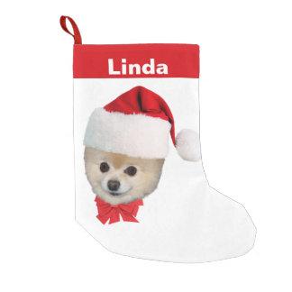 Christmas, Pomeranian Dog, Santa Hat, Name Small Christmas Stocking