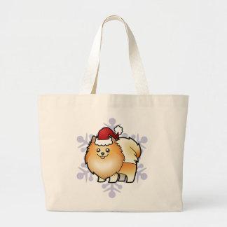 Christmas Pomeranian Large Tote Bag