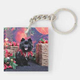 Christmas - Pomeranian - Mazie Key Chain