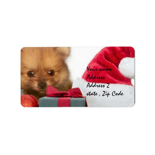 Christmas Pomeranian puppy Label