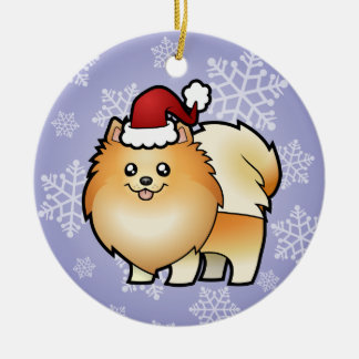 Christmas Pomeranian Round Ceramic Decoration