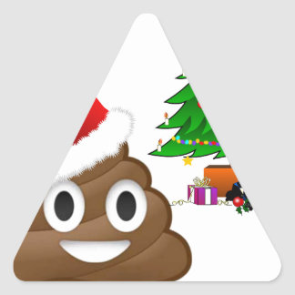 christmas poo emoji triangle sticker