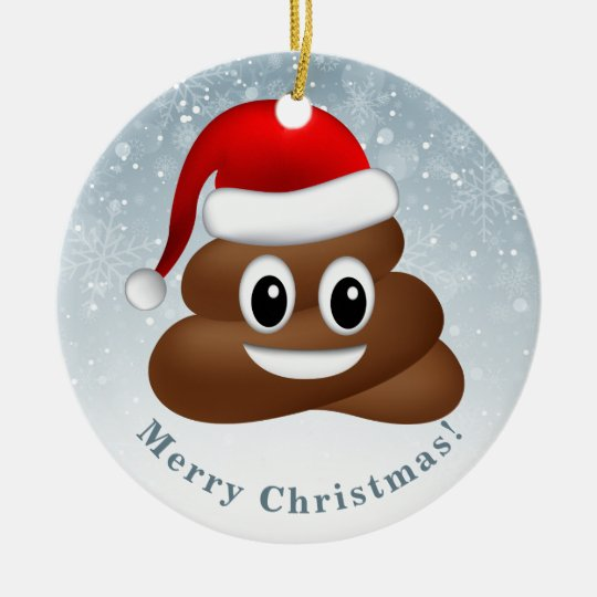christmas poo emoji with santa hat christmas ornament