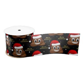 christmas poo emoji with santa hat ribbon satin ribbon