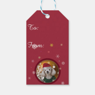 Christmas poodle dog gift tag