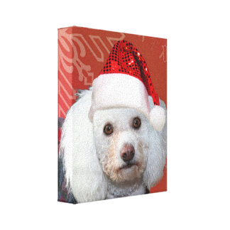 Christmas poodle gallery wrap canvas print