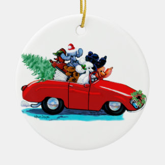 Christmas Poodle Vintage Red Car Christmas Ornament