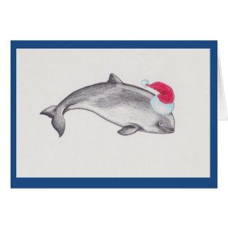 Christmas porpoise wearing a Santa hat Card
