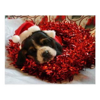 Christmas Postcard Basset Hound