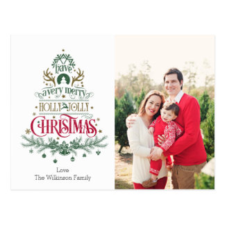 Christmas Postcard - Holly Jolly Christmas