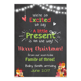 Christmas pregnancy announcement card chalkboard