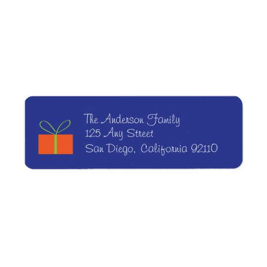 Christmas Present Address Label (blue)