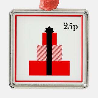 Christmas present stamp ornament