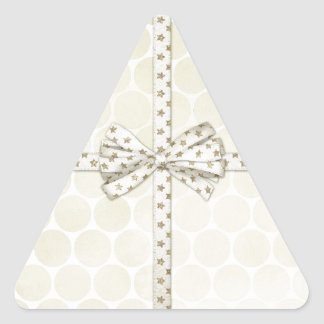Christmas Present with Bow Background Triangle Stickers